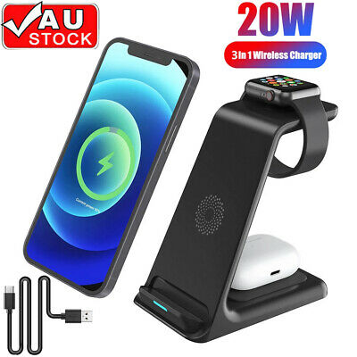 AU44.90 • Buy 20W Wireless Charger Stand 3 In 1 Qi Fast Charging Dock Station For Airpods
