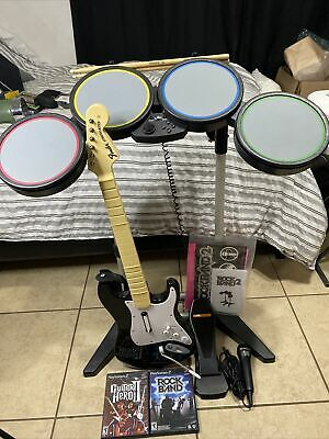 £105.50 • Buy Harmonix Rock Band 822148 Wired Drum Set  For PS2/PS3/PS4 W/ Mic & Guitar READ