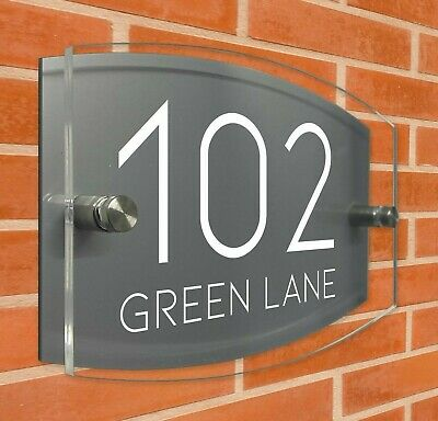 £6.95 • Buy Modern House Signs Personalised Plaques Door Number Glass Effect Acrylic Plate