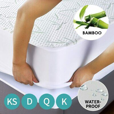 AU36.99 • Buy Bamboo Mattress Bed Matress Protector Cover Waterproof Single King Queen Double