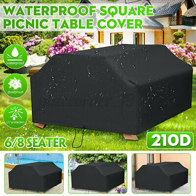 £18.88 • Buy 210D 6/8 Seater Black Square Picnic Bench Table Cover Garden Outdoo