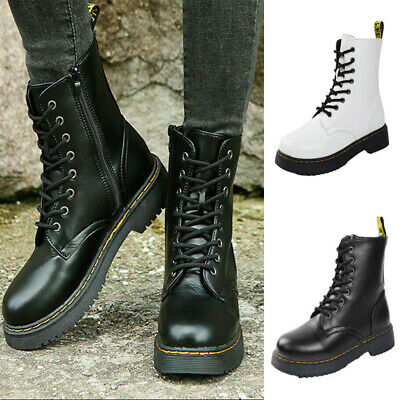 £21.49 • Buy Women Mid Calf Boots Chunky Platform Lace Up Side Zipper Combat Army Biker Shoes