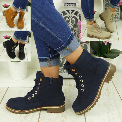 £22.99 • Buy Ankle Boots Ladies Shoes Womens Lace Up Chunky Heel Army Combat Trainers Size