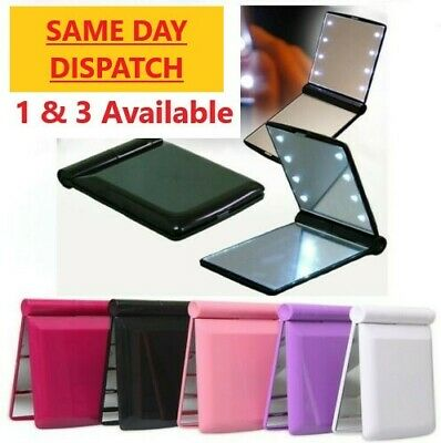 £4.45 • Buy Folding LED Mirror Cosmetic Compact With 8 Lights Lamps Portable