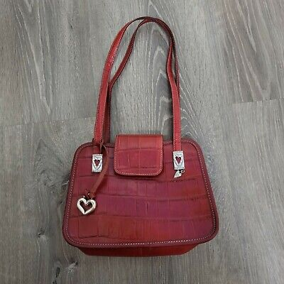£22.55 • Buy BRIGHTON Shoulder Bag Red Croc Embossed Faux Leather Magnetic Snap Button Purse