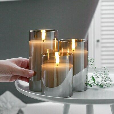 £17.99 • Buy 3pcs Authentic Flame Battery Flickering LED Candle Lights Glass Jar Wax   Indoor