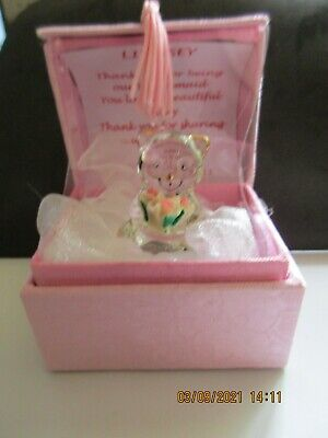 £7.99 • Buy Personalised Bridesmaids Gift Glass Teddy In A Box