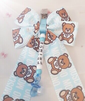£6.49 • Buy Prince Baby Boy Pram Charm Moses Basket Small Bear Clip Bow Baby Shower Gift