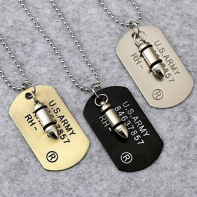 £4.99 • Buy Black Silver Gold Bullet Dog Tag Pendant Necklace Military RAMBO ID Tag Chain