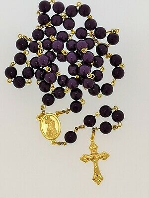 £3 • Buy Rosary, Handmade, Gold Coloured Cross And Centre Medal With Round Purple Beads