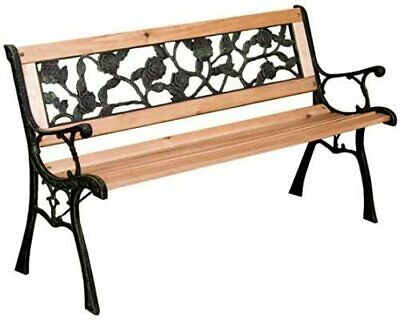 £64.99 • Buy 3 Seater Wooden Bench Outdoor Patio Furniture Traditional Garden Seat Iron Legs