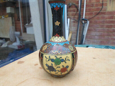 £12.50 • Buy Antique Chinese / Japanese Cloisonne Bud Vase With Flower And Gold Specks Design