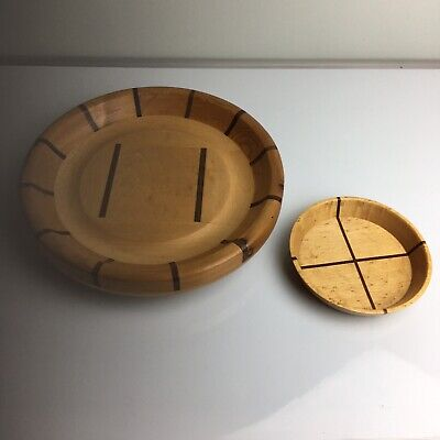 £17.99 • Buy Wooden Revolving Lazy Susan With Matching Wooden Bowl- Handcrafted 30cm Wide