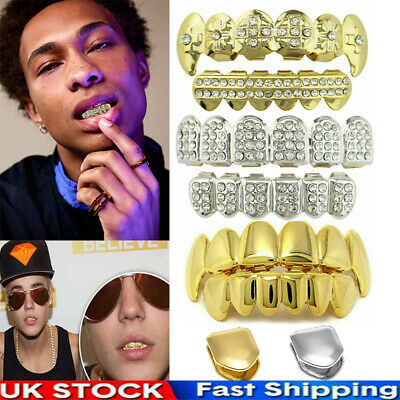 £6.69 • Buy Men Women Iced Out Hip Hop Grill Teeth Grillz Diamond Top & Bottom Grill Cosplay