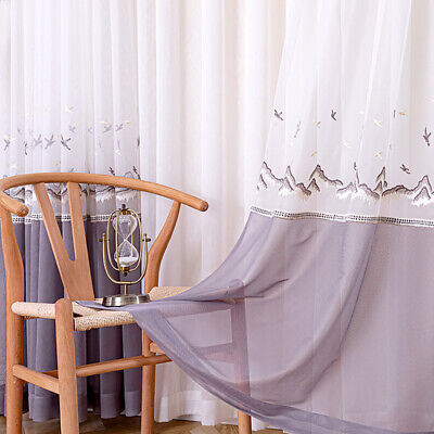 £26.24 • Buy Net Curtain Window Drape Sheer Chinese Embroidery Pinch Pleat / Eyelet Ring Top