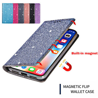 AU13.59 • Buy For IPhone 12 11 Pro Max 7/8  X XS XR Case Magnetic Glitter Wallet Flip Cover