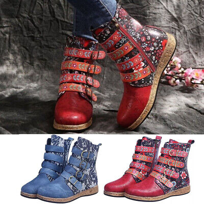 £20.95 • Buy Women Chunky Platform Combat Retro Boho Floral Boots Buckle Ankle Boots Side Zip