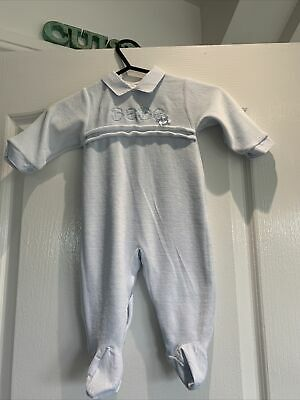 £5.49 • Buy Spanish COCO Baby Boys Pale Blue Velour Sleepsuit All-in-one  Age 3-6 Months