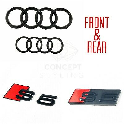 £39.99 • Buy Audi S5 GLOSS BLACK BADGE SET OF FRONT & REAR RINGS GRILLE BOOT TRUNK EMBLEM