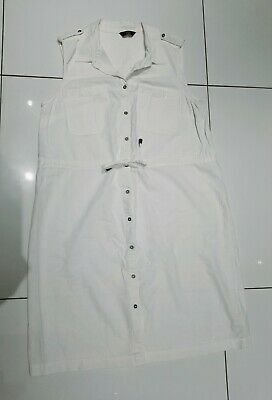 £2.50 • Buy Ladies Off White Cargo Style Sleeveless Linen Shirt Dress With Tie Waist Size 12
