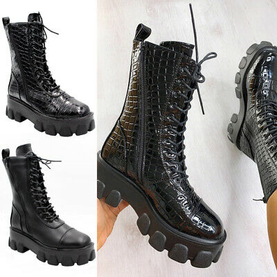 £25.95 • Buy Ladies Ankle Lace Up Chunky Platform Boots Womens Zip Goth Punk Shiny Shoes Size