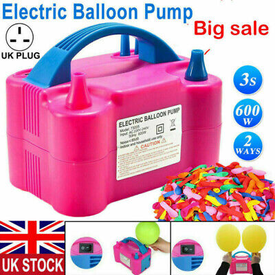 £16.58 • Buy 600W Electric Air Balloon Pump Dual Nozzle Automatic Portable Inflator Party UK