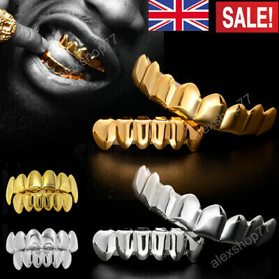 £5.99 • Buy Self-Fitting Full Grills Gold Silver Grillz Gangster Tooth Cap Hip Hop Cosplay