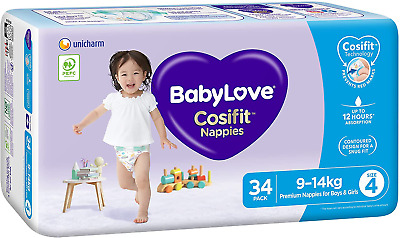 AU51.54 • Buy Babylove Cosifit Nappies, Size 4 (9-14Kg), 102 Nappies (3X 34 Pack)