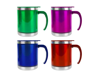 £6.15 • Buy Insulated Thermal Double-Wall Travel Mug Coffee Tea  Flask Cup 450ml With Lid