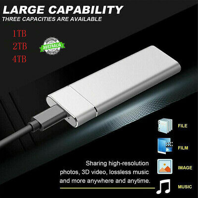 AU36.79 • Buy 1/2/4TB/500GB Type C External SSD Solid State Drive Portable Mobile Hard Drives