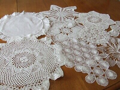 £9.99 • Buy 10 Vintage White Assorted Lace Table Centers/ Mats.