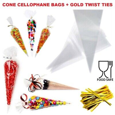 £2.39 • Buy Cellophane Cone Sweet Bags Clear Plastic Cello Small Large Party Gift Twist Ties