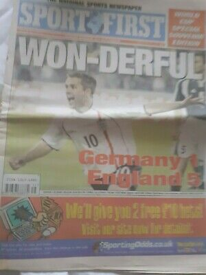 £0.60 • Buy SPORT FIRST NEWSPAPER 2 September 2001 Germany 1 England 5 World Cup Special