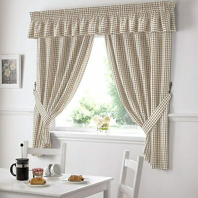 £11.99 • Buy RETURN UNUSED Gingham Check Kitchen Tape Top Curtains - Beige (46  Wide X 54 )