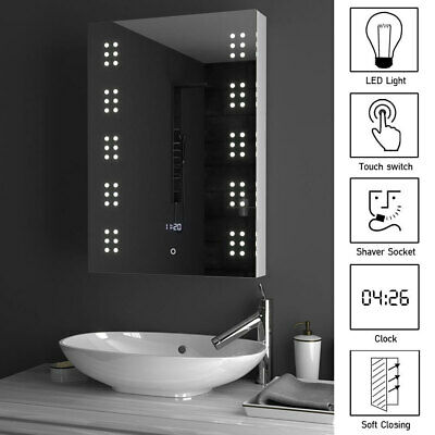 £169.95 • Buy LED Bathroom Mirror Cabinet With Shaver Socket Storage/Fog Demister/Touch Switch