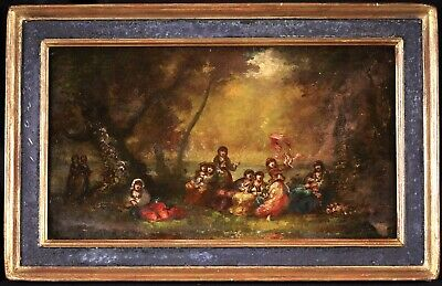 £4.20 • Buy Frederic Borgella (1833-1901) Signed French Orientalist Oil Panel - Girls Forest