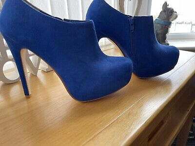 """£7.75 • Buy Red Herring Bright Blue High Ankle Boots Platform 1.5"""" Heel 5"""" Size 39"""