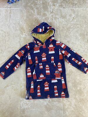 £19.99 • Buy Boys Blue Boden Lighthouse Long Towelling Beach Hoodie Cover Up Towel 7-8y VGC