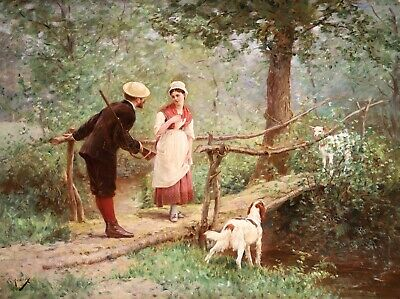 £256 • Buy Edmond Rudaux (1840-1908) Large Signed French 1878 Oil Panel - The Encounter