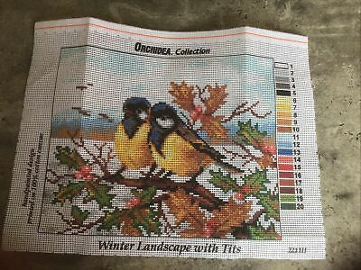 £1.99 • Buy Cross Stitch/tapestry Canvas By Orchida Winter Landscape With Blue Tits NEW.