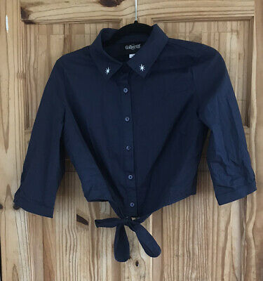 £7.50 • Buy Collectif Dark Blue 50's Style Collared Cropped Shirt With Waist Tie UK 10/S