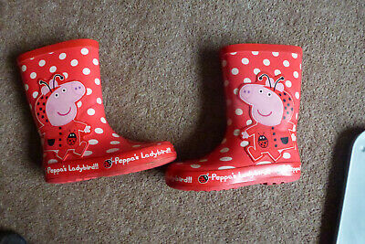 £2.50 • Buy Red With White Spots Peppa Pig Wellies With Ladybirds On The Fronts Size 10