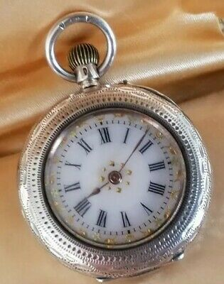 £55 • Buy Antique  Solid Silver Cased Ladies Pocket Watch Enamel Dial Gilt Accents  0.935