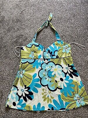 £4 • Buy NEW LOOK  Size 12 FLORAL TURQUOISE HALTER NECK TOP , Zip Up To Back