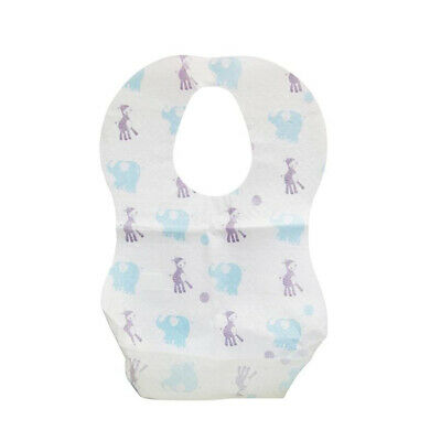£4.83 • Buy Cartoon Elephant Disposable Baby Bibs With Food Catcher Pocket Pack Of 10
