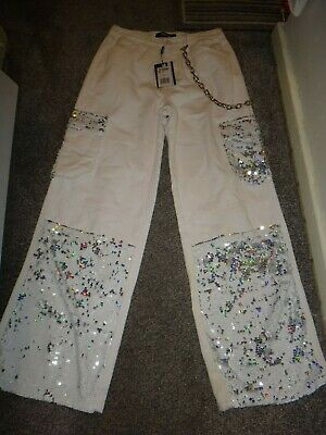 £9 • Buy White Unusual Jeans Wide Leg/sequins & Chain Size 28  Waist New/tag Retails £68