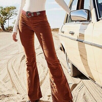 £24 • Buy Free People Pull On Cord Flares Bell Bottom Trousers Brown Size 26 8 New
