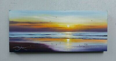 £50 • Buy Original Oil Painting By BEN PAYNE Art 12 ×5  Sunset Beach Sea Collectable