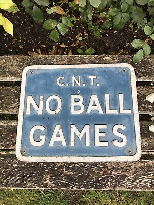 £65 • Buy Reclaimed Vintage Painted Metal Sign NO BALL GAMES