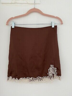 £15 • Buy Urban Outfitters Brown Satin Mini Skirt, Size XS